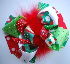 boutique CHRISTMAS DOTS funky fun hair bow clip by andjane on Etsy
