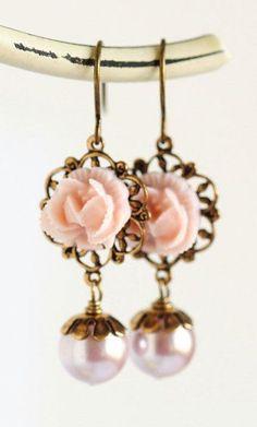 Pink Flower Earrings Pink Jewelry Wedding