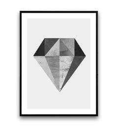 Diamond print minimalist art geometric print by Wallzilla on Etsy