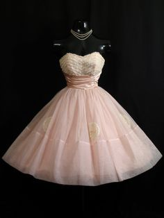 Vintage 1950's 50s Cupcake Strapless PINK Ruched Prom Dress