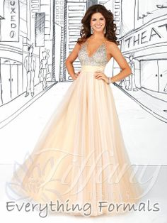 Shimmery and Flattering #Tulle and #SparkleTulle #VNeck Empire Waist Long #PromGown by #TiffanyDesigns Style 16030~ MSRP: $369.38 Guaranteed Low Price: $328.00 (You save $41.38) $328.00 (http://www.everythingformals.com/tiffany-designs-prom-dress-16030/)