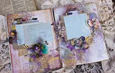 A stunning mixed media album created by Elena. Finnabair's new pastes and many other things from Prima - Art Basics, Art Extravagance, Art Ingredients.