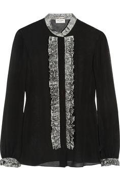Saint Laurent|Lamé-ruffled silk-chiffon blouse|NET-A-PORTER.COM