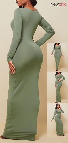 Solid Color O-neck Long Sleeve Hip Maxi Dress #easyhairstyles Easy Hairstyles For Medium Hair, Medium Hair Styles, African Women, Baby Dress, High Neck Dress, Clothes For Women, Formal, Clear Acrylic, Acrylic Nails