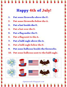 Spatial Directions: Fourth of July. Auditory Comprehension/Receptive Language