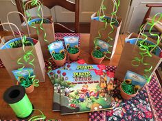 Zombies party favors -book, stickers to decorate pot, sunflower seeds Zombie Birthday Cakes, Zombie Birthday Parties, Zombie Party, 8th Birthday, Plants Vs Zombies, Plantas Versus Zombies, Plant Zombie, Boy Party Favors, Dinosaur Party