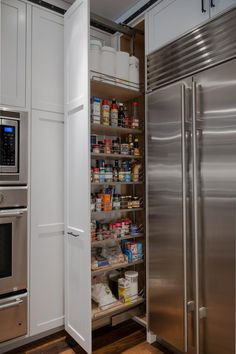 Large Pantry with Freezer Refrigerators - Lovely Large Pantry with Freezer Refrigerators, Traditional Shaker Style Kitchen Housing An American Fridge Pantry Cabinet, Small Dining Room Table, Kitchen Styling, Kitchen Storage Rack, Large Pantry, Outdoor Kitchen Appliances, Kitchen Design, Multipurpose Furniture, Kitchen Design Trends