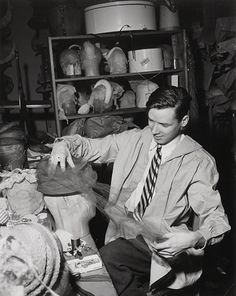 Bill Cunningham in his Millinery studio in the 1950s