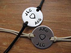 Couples bracelets personalized bracelets handstamped