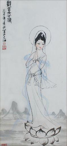 Bodhisattva Guanyin, painting by Yao Youxin, 1980