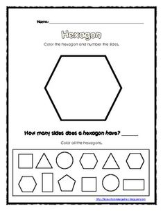 Printables Hexagon Worksheet back to shape and free printables on pinterest