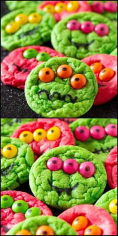 Halloween Monster Cookies are made from cake mix and only require six ingredients. These Halloween Monster Cookies are perfect for spooky Halloween parties! Halloween Desserts, Halloween School Treats, Halloween Party Supplies, Halloween Dinner, Halloween Cookies, Halloween Parties, Easy Halloween, Halloween Halloween, Monster Party