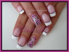 French and pink flowers - Nail Art Gallery by NAILS Magazine