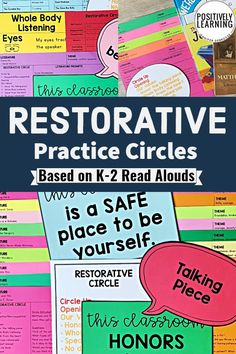 Restorative Circles in Elementary - get started with these classroom visuals and 20 lesson ideas based on favorite read aloud books. #restorative #restorativecircles #restorativejustice