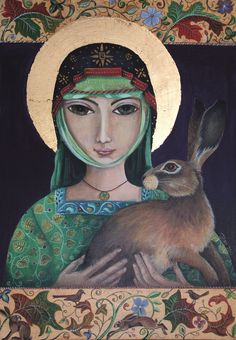 'St Melangell & the Hare' - painted in acrylics by Jemima Jameson. St Melangell is the patron saint of hares. Totems, Illustrations, Illustration Art, Somebunny Loves You, Patron Saint Of Animals, Madonna, Bunny Art, Bunny Bunny, Rabbit Art