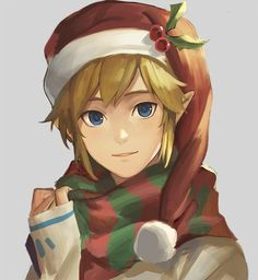 Christmas Anime boy Link. No cat but those eyes are killing me.