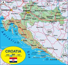 Map of Croatia (Country) Croatia Map, Homemade Bird Houses, Beautiful Fruits, The Atlas, Places To Visit, Country, City, World, Girlfriends