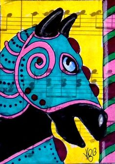 """Aceo Original """"MUSICAL CAROUSEL BLACK HORSE 3"""" pencil/ink on musical paper ON EBAY"""