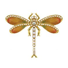 Gold-Tone Orange Enamel with Simulated Pearl Balantinis Dragonfly Pin -- Visit the image link more details.