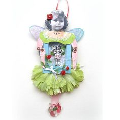 paper doll mixed media altered art collage fairy art doll ornament ~ Child Within by Kell Belle's Studio..cute