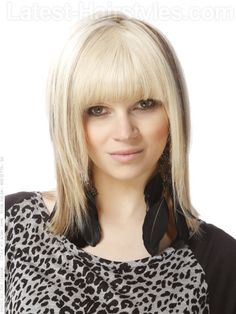 Classic Blonde Shag Cut with Long Bangs Front View