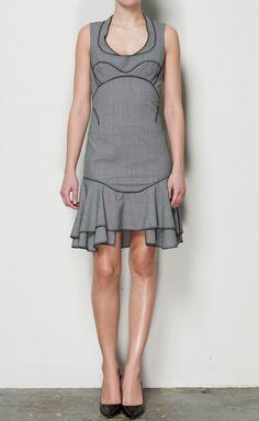 Zac Posen Gray With Black Trim Dress