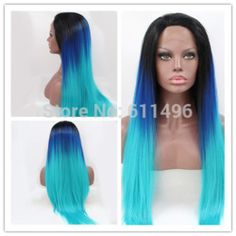 Online Shop Wholesale Heat Resistant Ombre Natural Black/dark blue/light turquoise Tone Color Straight Synthetic Lace Front Wig Party Wig|Aliexpress Mobile