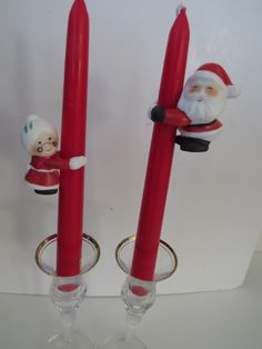 Vintage Chrismtas Candle Taper Climbers Huggers - Santa Claus Mrs Santa Christmas Table Decor -  Gift - Holiday Decorations by shabbyshopgirls on Etsy