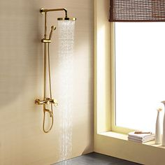 Brusehaner+-+Moderne+-+Håndbruser+inkluderet+/+Regnbruser+-+Messing+(Ti-PVD)+–+DKK+kr.+1.970