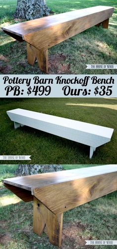 Wood Projects DIY Pottery Barn-Inspired Bench - need just 3 boards to build this! So easy! - Build a DIY Pottery Barn-inspired bench with three boards! Diy Wood Projects, Diy Projects To Try, Furniture Projects, Wood Crafts, Diy Crafts, Project Ideas, Decor Crafts, Diy Outdoor Furniture, Diy Furniture