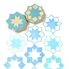 Moroccan Stars Pattern Rubber Stamps - Hand Carved Stamp Set. $14.00, via Etsy.