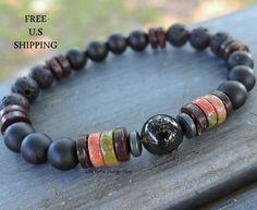 Mens Smoky Quartz, Unakite, Lava, Onyx, Mala bracelet, Energy bracelet, Tribal bracelet, Unakite bracelet, Healing, reiki, nature, gemstone