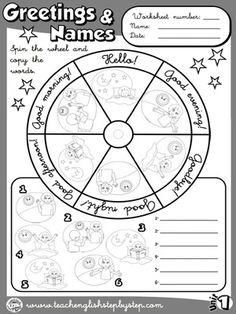 Greetings and Names - Worksheet 2 - page 1 (B&W version)