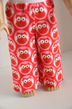 American Girl Doll Clothes Flannel Pajama Pants Lounge Pants Owl Print 18 Inch