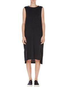 Hemmed Neck Side Split Tank Dress