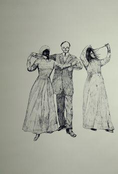Gustavo Abascal: St. Vitus dance. Ink on paper. 2011.