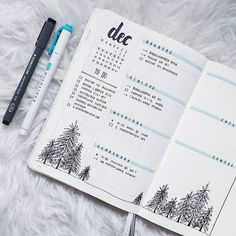 This weeks spread I love how those messy pine trees turned out #bulletjournallove #bulletjournaling #bulletjournal #bulletjournalss #bujocommunity #bujojunkies #bujo #bujoinspiration #bujoweeklyspread #bujobeauty #weeklyspread #spread #mildliner #december #leuchttrum1917 #planner #planning #planwithme #pinetree #doodles #winter