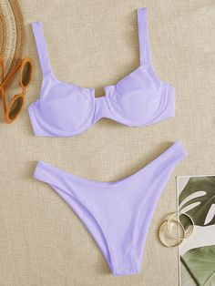 Shop Rib Underwire High Cut Bikini Swimsuit at ROMWE, discover more fashion styles online. Swimwear Fashion, Bikini Swimwear, Thong Bikini, Usa Bikini, Beach Fashion, Romwe, High Cut Bikini, Cute Bathing Suits, Summer Bikinis