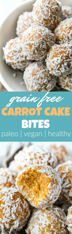 These Grain Free Carrot Cake Bites are paleo, vegan, refined sugar-free, and made with only 4 major ingredients! They're soft and doughy with a subtle sweetness and the perfect amount of spice. A perfect little healthy snack. | runningwithspoons.com #vegan #paleo #spring #glutenfree