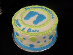 Boy baby shower cake with green and blue decoration. www.Abbiesbakery.com www.facebook.com/abbiesbakery