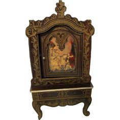 Antique Biedermeier Dollhouse Mirrored Cabinet