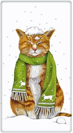 Orange Tabby Holiday Snow Cat Cotton Flour Sack Dish Tea Towel - Mary Lake Thompson x I Love Cats, Crazy Cats, Cute Cats, Funny Cats, Chats Tabby Oranges, Cat Embroidery, Gatos Cats, Orange Tabby Cats, Here Kitty Kitty