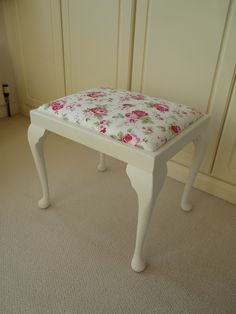 Dressing Table stool painted with Annie Sloan original and covered with Rosali fabric