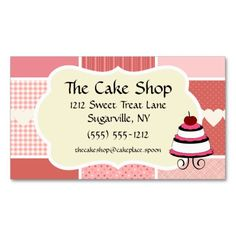 Baking and Bakery Boutique, Pink Polka Dot Heart Business Card Template