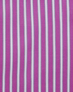 Brioni Contrast-Collar Striped Dress Shirt, Magenta/White - Neiman Marcus