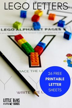 LEGO Letter activity printable pages for kids. Build, trace, and write letters to practice the alphabet with LEGO. Great ABC activity for preschool and kindergarten age kids. Lego Letters, Teaching Letters, Preschool Letters, Alphabet Letters, Writing Letters, Alphabet Games, Spanish Alphabet, Alphabet Crafts, Letter Games
