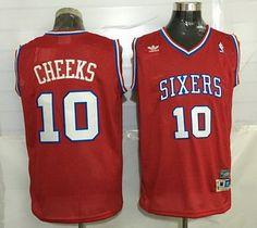 ad2e298e541 Men s Philadelphia 76ers  10 Maurice Cheeks Red Hardwood Classics Soul  Swingman Throwback Jersey Soccer Jerseys