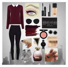 """""""Sophisticated Burgundy"""" by jennazilla ❤ liked on Polyvore featuring Oasis, WithChic, NARS Cosmetics, Forever 21, Una-Home, Serge Lutens, Armani Beauty, Nina Ricci, Bobbi Brown Cosmetics and MAC Cosmetics"""