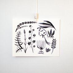 White  Black Botanicals 8x10 print by KatieVernon on Etsy, $20.00