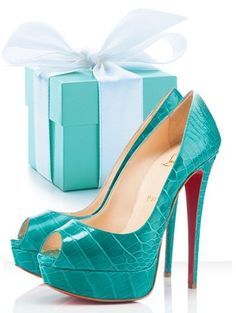 CHRISTIAN LOUBOUTIN and TIFFANY & CO These shoes are waaaay too high for me, but they're adorable. Love the color!